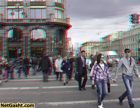 عکس های زیبای سه بعدی سن پترزبورگ-با عینک 3D  آبی قرمز ببینید