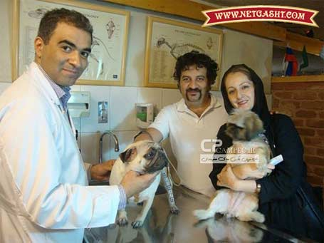 عکس شقایق دهقان و سگش و همسرش