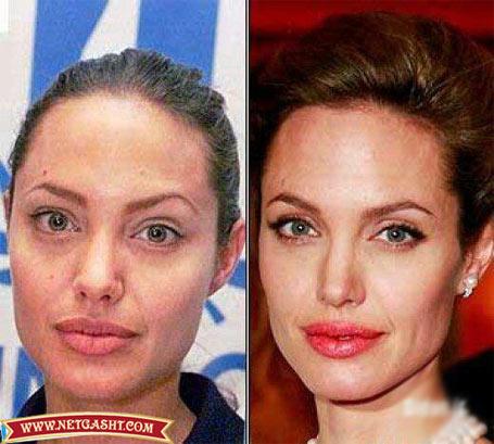 عکس آنجلینا جولی، بازیگر زیبای هالیوودی قبل و بعد از آرایش