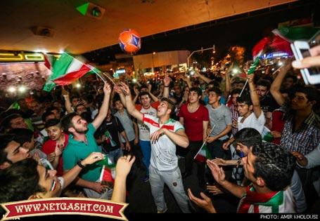 مراسم جشن و پایکوبی مردم بعد از باخت یک بر صفر مقابل آرژانتین