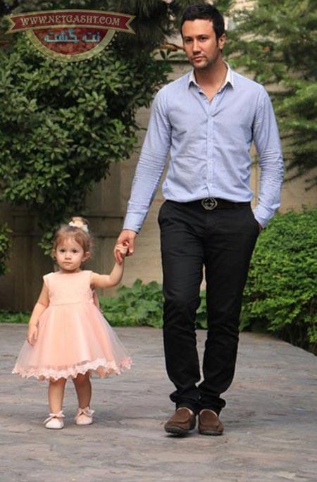 عکس اخمو شاهرخ استخری و دختر خوشگلش پناه