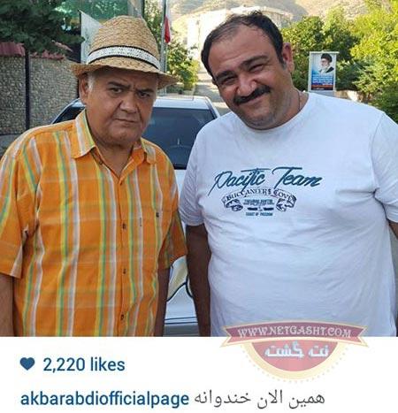 مهران غفوریان و اکبر عبدی در پشت صحنه خندوانه