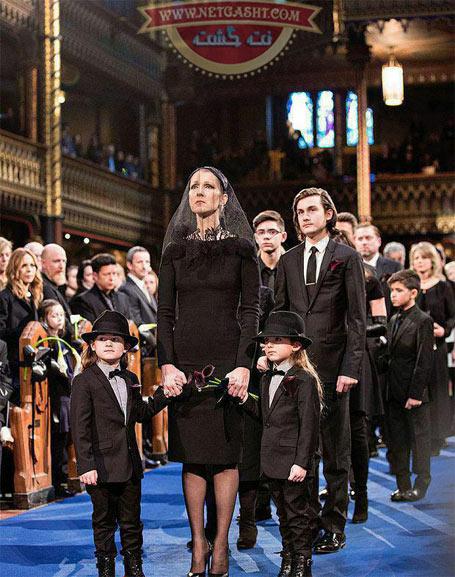 عکس سلن دیون، خواننده مشهور فیلم تایتانیک در مراسم ختم شوهرش