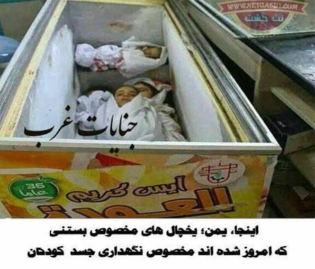 عکسی تکان دهنده از یخچالهای بستنی پر از جسد در یمن