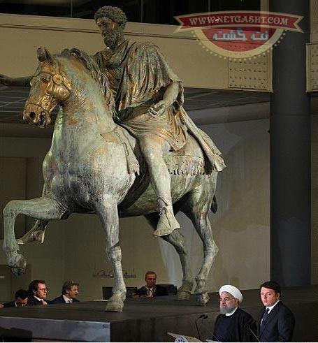 عکس نشست خبری رئیس جمهور ایرانی زیر سم اسب فاتح ایران در رم