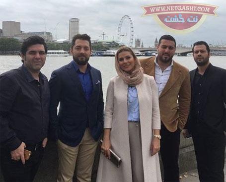 تیپ سحر دولتشاهی در کنار پژمان بازغی و بهرام رادان در سفر لندن