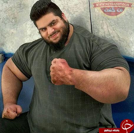 عکس سجاد غریبی دومین هرکول ایرانی، معروف به هالک ایرانی با 183 کیلو وزن و 11 وعده غذایی