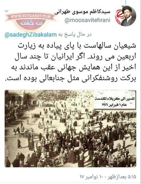 پاسخ موسوی تهرانی به شبهه صادق زیبا کلام درباره سیاسی بودن راه پیمایی اربعین