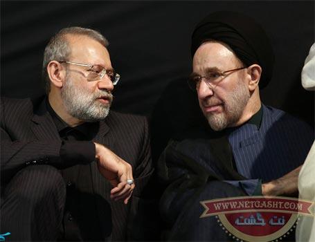 سیدمحمد خاتمی و علی لاریجانی در کنار یکدیگر در مراسم عزاداری محرم در حسینیه جماران